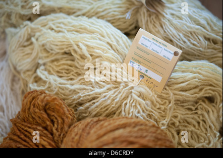 Weavings and textiles made entirely by hand by Mapuche women in Temuco Chile - Stock Photo