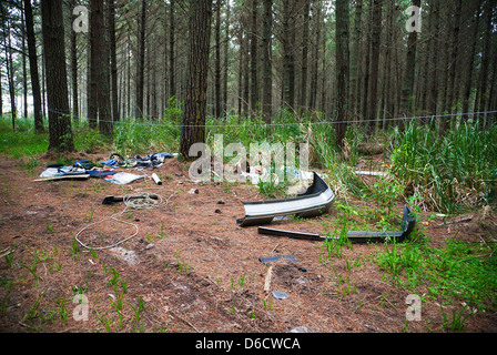 A view of fly tipping and household rubbish dumped in a forest area of North Island, New Zealand. - Stock Photo