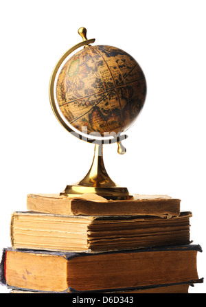 Antique globe on books - Stock Photo
