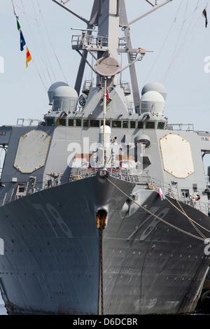 The USS Porter (DDG-78), an Arleigh Burke class destroyer at Naval Station Norfolk. - Stock Photo