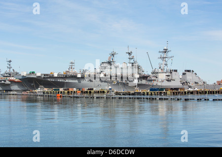 United States Navy ships in port at Naval Station Norfolk. - Stock Photo