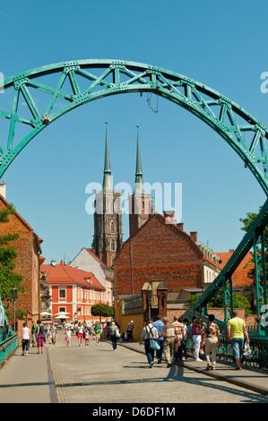 Tumski Bridge, Wroclaw, Poland - Stock Photo