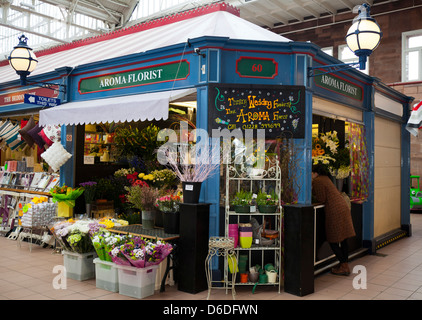 Aroma Flower shop in Carlisle market hall, Cumbria, UK - Stock Photo