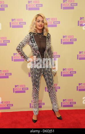 UK singer Rita Ora arrives at the MTV Video Music Awards at Staples Centre in Los Angeles, USA, on 06 September - Stock Photo
