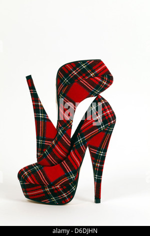 Womens very high heels in Red Plaid tartan material - Stock Photo