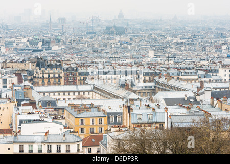 View on Paris from Basilica of Sacred Heart - Stock Photo
