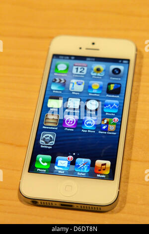 The new iPhone 5, captured in London, UK, 12 September 2012 . In the US, Germany, and seven other countries, the - Stock Photo
