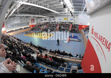 Artists, dancers and athletes show their skills during the opening of the MBS Arena in in Potsdam, Germany, 18 January - Stock Photo