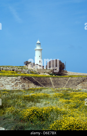lighthouse and odeon, archaeological park, paphos, cyprus. - Stock Photo