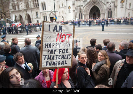 London, UK. 17th April 2013. The Ceremonial Funeral of Former British Prime Minister Baroness Thatcher. Protesters - Stock Photo
