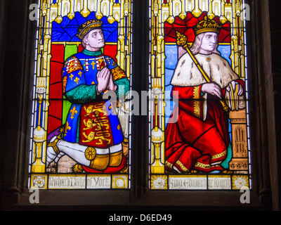 Stained glass windows depicting Richard, Duke of York and king Edward in s Lawrences church in Ludlow, Shropshire, - Stock Photo