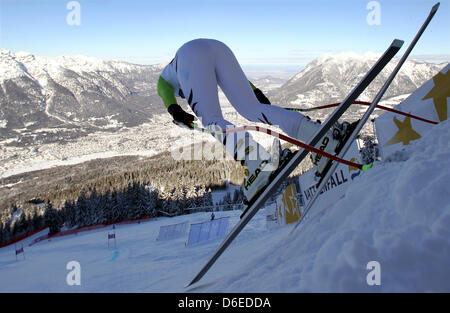 German alpine skier Stephan Keppler starts during the first down-hill training of the men at the Kandahar ski slope - Stock Photo