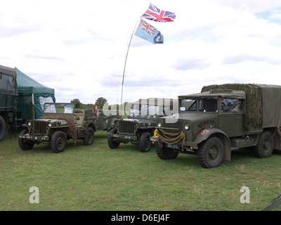 Vintage WWII military vehicles on display at Rauceby war weekend 2011 - Stock Photo