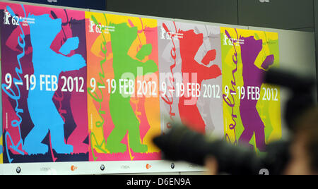(dpa file) - A file picture dated 31 January 2011 shows posters for the upcoming 62nd Berlin International Film - Stock Photo