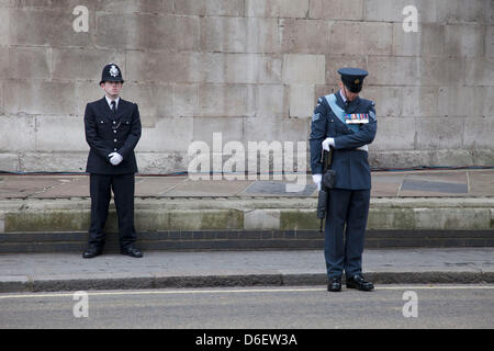 London , UK. 17th April 2013. The funeral of former Prime Minister Baroness Margaret Thatcher. Metropolitan police - Stock Photo
