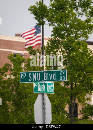 At the intersection of SMU and Bush, the flag outside the George W Bush Presidential Library on the campus of Southern - Stock Photo