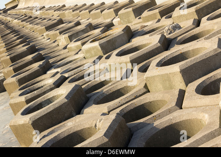 Blackpool honeycomb type sea wall defences, also known as a seebee, along the South Shore section of Blackpool promenade. - Stock Photo