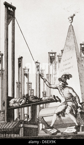 Cartoon showing Robespierre guillotining the executioner after having guillotined everyone else in France. - Stock Photo