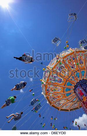 Oktoberfest carousel Merry go round Munich Germany - Stock Photo