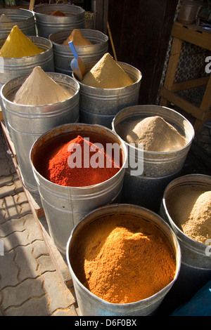Variety of spices in the Medina in Marrakesh, Morocco - Stock Photo