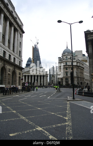 Empty roads, no traffic, cars, buses. Day of Margaret Thatchers funeral. London. Bank station. - Stock Photo