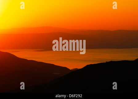 Sunset over The Sea of Galilee, Israel - Stock Photo