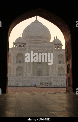 View of the Taj Mahal through the arch of Mosque, UNESCO World Heritage Site, Agra  Uttar Pradesh India - Stock Photo