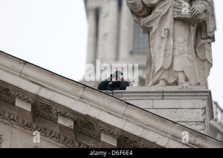 London, UK. 17th April, 2013. Security at Margaret Thatcher's funeral at St Paul's Cathedral in Central London. - Stock Photo