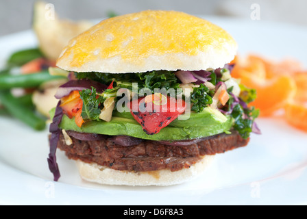 Tri tip sandwich with avocado and vegetable slaw - Stock Photo