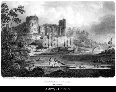 An engraving entitled ' Barnard Castle, Durham ' scanned at high resolution from a book published in 1803. - Stock Photo
