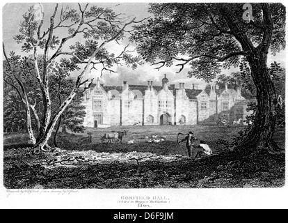 An engraving entitled ' Gosfield Hall, (A Seat of the Marquis of Buckingham), Essex ' scanned at high resolution - Stock Photo