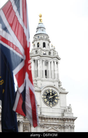 London, UK. 17th April 2013. The Funeral of Baroness Margaret Thatcher. A Union Jack flag, limp in the wind, after - Stock Photo