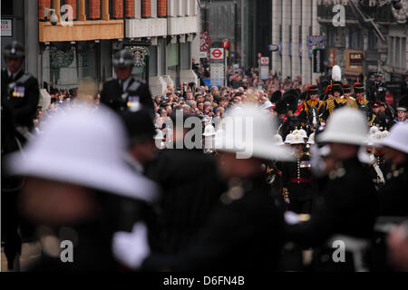 London, UK. 17th April 2013. The funeral procession of Margaret Thatcher in London, England. Baroness Thatcher (1925 - Stock Photo