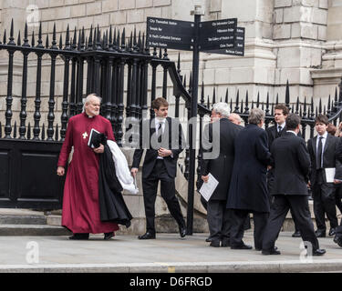 Bishop of London leaves St Paul's Cathedral after the funeral service of Baroness Margaret Thatcher - London, England, - Stock Photo