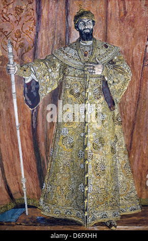 Alexander Golovin, Portrait of Fyodor Chaliapin in the Role of Boris Godunov 1912 Oil on canvas. State Russian Museum - Stock Photo