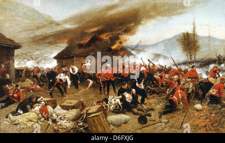 Alphonse-Marie-Adolphe de Neuville, The defence of Rorke's Drift 1879 Oil on canvas. Art Gallery of New South Wales, - Stock Photo