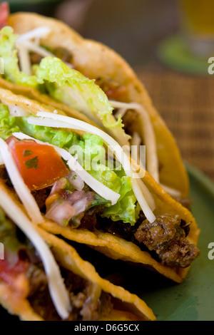 Crispy Beef Tacos - with recipe - Stock Photo