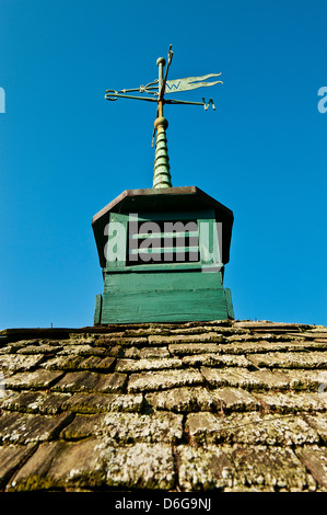 Barn cupola and weather vane. - Stock Photo