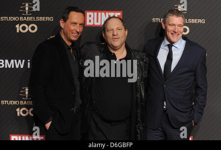German producer and president of of Studio Babelsberg AG, Carl Woebcken (L-R), US Producer Harvey Weinstein and - Stock Photo