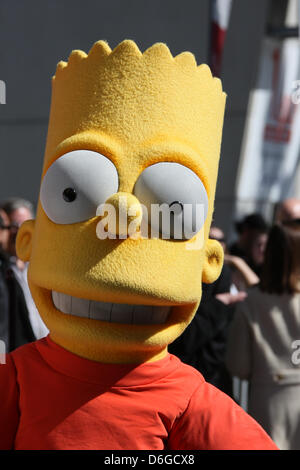 Costume character Bart Simpson attends the ceremony honorong the creator of tv show The Simpsons, Matt Groening, - Stock Photo