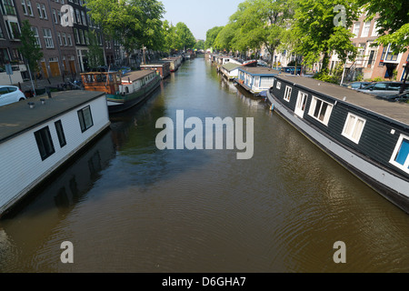 Amsterdam, The Netherlands, houseboats on the Prinsengracht - Stock Photo