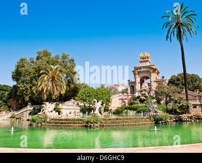 The Cascada (Waterfall) monument in Parc de la Ciutadella in Barcelona - Stock Photo
