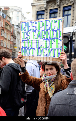 Margaret Thatcher Protester at Margaret Thatcher's Funeral, St Paul's Cathedral, April 17th 2013 - Stock Photo