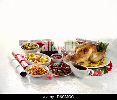 Traditional roast turkey with trimmings stock photo for Thanksgiving dinner with all the trimmings