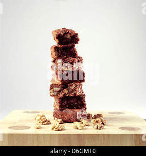 Stack of Walnut Brownies - Stock Photo