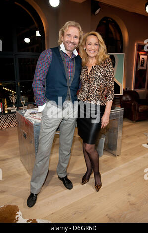 Jerry Hall, ex-wife of Mick Jagger, is guest at the talkshow 'Gottschalk live' of TV presenter and host Thomas Gottschalk - Stock Photo
