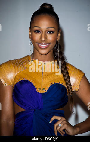 Singer Alexandra Burke attends the Brit Awards 2012 at O2 Arena in Greenwich, in London, Great Britain, on 21 February - Stock Photo