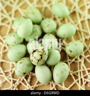 Green chocolate mini eggs - Stock Photo