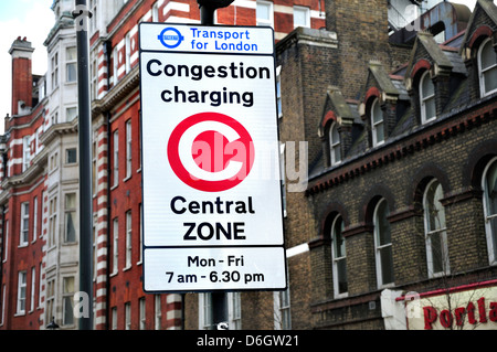London, England, UK. Congestion charging sign in central zone - Stock Photo