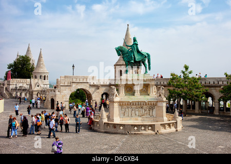 St Stephen's (Hungarian: Szent Istvan) monument and Fisherman's Bastion in Budapest, Hungary. - Stock Photo